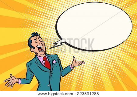 Cocky salesman businessman. Comic book cartoon pop art retro illustration