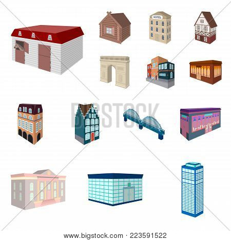 Building and architecture cartoon icons in set collection for design.The building and dwelling vector isometric symbol stock  illustration.
