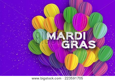 Happy Mardi Gras in paper cut style. Origami Carnival background with ballon. Colorful decoration for party, celebration, banner, card, gift. Bunch baloon. Seasonal holiday. Vector