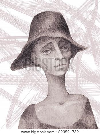 Portrait of a beggar child painted with a pencil on a white background