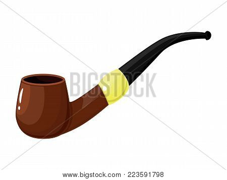 Greeting card for Father s Day. Happy Father s Day. I love you, dad. Smoking pipe isolated on white background. Vector illustration