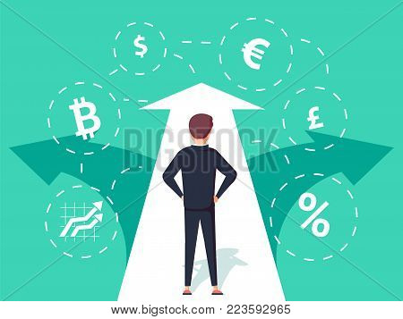 Finance. Illustration of a businessman looking through. Business concept illustration. Creative infographic banner with elements in flat style. Deal making, money earning and saving, financial profit.
