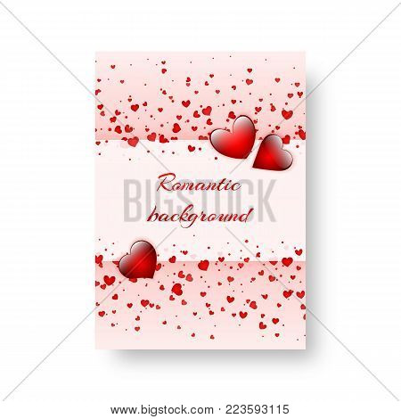Love heart background with falling confetti for valentine's day design, mother's day or birthday. Vector illustration