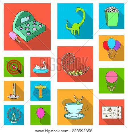 Amusement park flat icons in set collection for design. Equipment and attractions vector symbol stock  illustration.