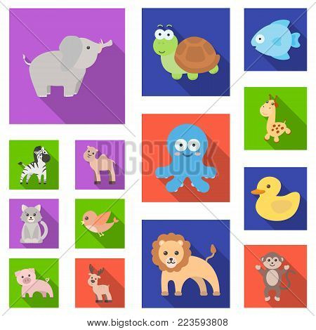 An unrealistic flat animal icons in set collection for design. Toy animals vector symbol stock  illustration.
