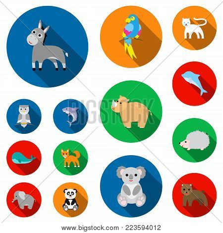 An unrealistic animal flat icons in set collection for design. Toy animals vector symbol stock illustration.