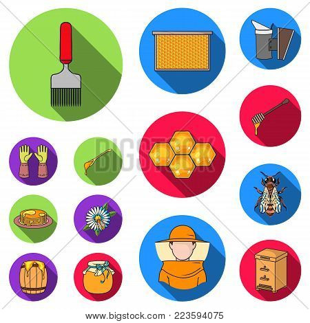 Apiary and beekeeping flat icons in set collection for design.Equipment and production of honey vector symbol stock  illustration.
