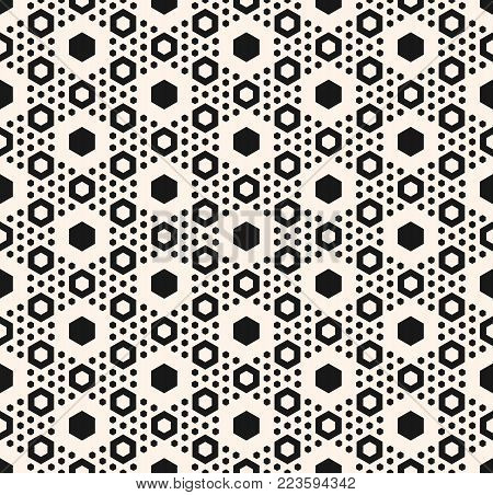 Honeycomb background. Simple geometric seamless pattern with big and small hexagons in hexagonal grid. Abstract modern geometric background. Hexagon texture. Monochrome repeat illustration. Design for prints, home decor, textile, wrapping, fabric