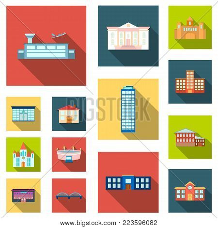 Building repair flat icons in set collection for design.Building material and tools vector symbol stock  illustration.