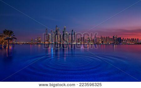 Dubai marina at sunset United Arab Emirates