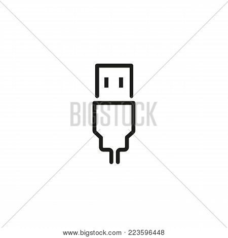 Icon of USB connector. Connection, transfer, storage. Data transfer concept. Can be used for topics like modern technology, digital devices, storage.