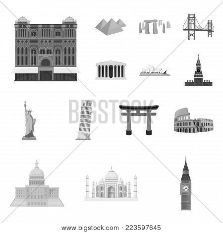 Sights of different countries monochrome icons in set collection for design. Famous building vector symbol stock  illustration.