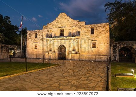 The historic Alamo Mission in San Antonio, Texas at night.