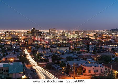 EL PASO, TX - OCTOBER 26, 2017: Night skyline of El Paso, Texas