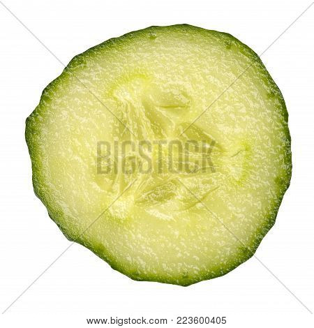 slice cucumber isolated on a white background, close up view