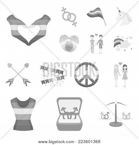 Gay and lesbian monochrome icons in set collection for design.Sexual minority and attributes vector symbol stock  illustration.