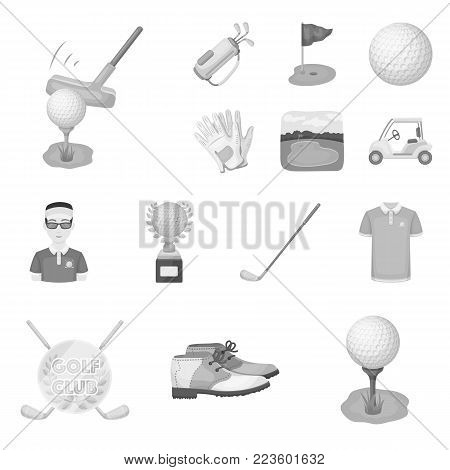 Golf and attributes monochrome icons in set collection for design.Golf Club and equipment vector symbol stock  illustration.