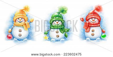 Collection of watercolor hand drawn New Year cute Snowmen in the caps and mittens isolated on white background. Christmas and New Year design elements.