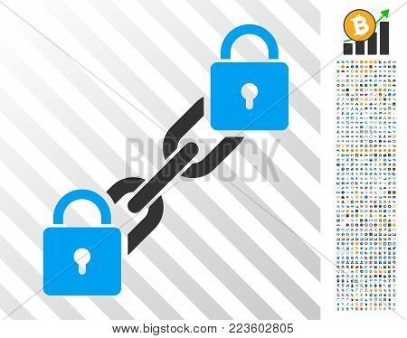 Lock Blockchain pictograph with 7 hundred bonus bitcoin mining and blockchain icons. Vector illustration style is flat iconic symbols designed for crypto-currency websites.
