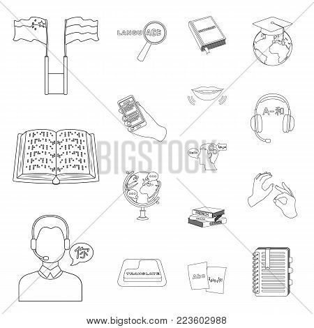 Translator and linguist outline icons in set collection for design. Interpreter vector symbol stock  illustration.