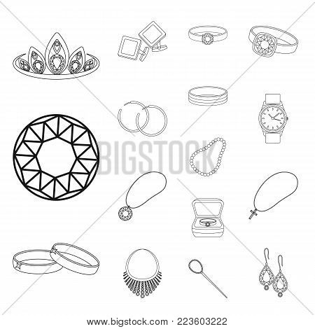 Jewelry and accessories outline icons in set collection for design.Decoration vector symbol stock  illustration.