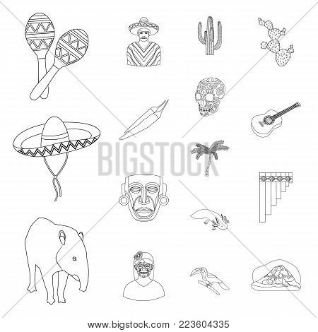 Country Mexico outline icons in set collection for design. Mexico and landmark vector symbol stock  illustration.