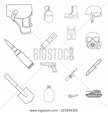 Army and armament outline icons in set collection for design. Weapons and equipment vector symbol stock  illustration.