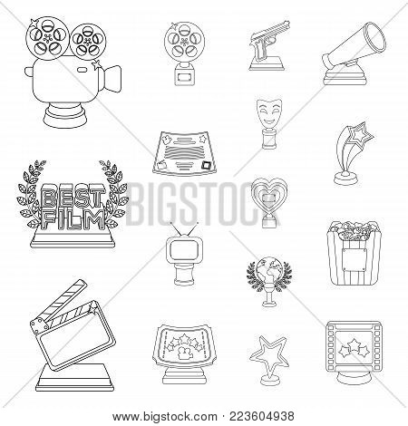 Film awards and prizes outline icons in set collection for design. The World Film Academy vector symbol stock  illustration.