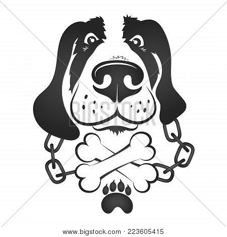 Dog with chains and bones silhouette vector