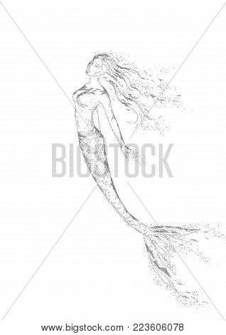 Low poly mermaid triangle myth creature fairy fantasy mystic. Poligonal point line abstract neutral gray white geometric. Beautiful underwater depth ocean vector illustration art