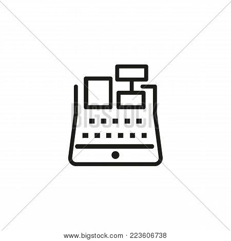 Icon of cash register with receipt. Money, cash, payment. Finance concept. Can be used for topics like shopping, purchasing, money.