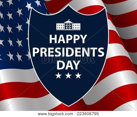 Happy Presidents Day in USA Background. Presidents Shield  silhouette with flag as background. United States of America celebration. Vector illustration.