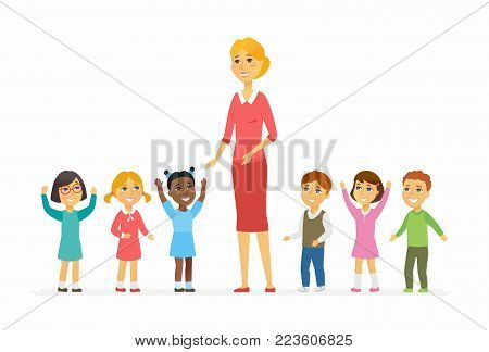 Kindergarten teacher with children - cartoon people characters isolated illustration on white background. Young smiling woman standing with happy international kids. Colorful image for a presentation