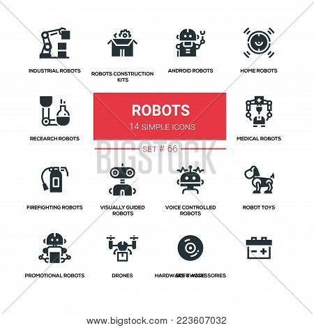 Robots - line design silhouette icons set. High quality black pictogram. Home, research, android, industrial, construction kits, medical, firefighting, visually guided, voice controlled, toys, promotional