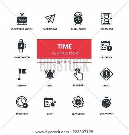 Time concept - line design silhouette icons set. High quality black pictogram. Alarm clock, hourglass, smart, electronic watch, stopwatch, calendar, pennon, bell, paper plane, check, event, gear, reminder