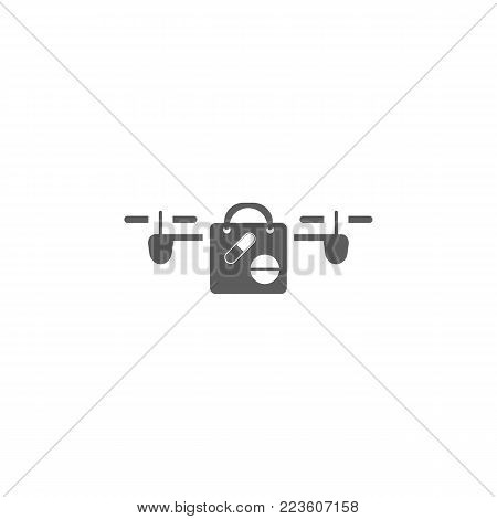 drone with a load of narcotics icon. Elements of a controlled aircraft icon. Premium quality graphic design. Signs, outline symbols collection icon for websites, web design, mobile on white background