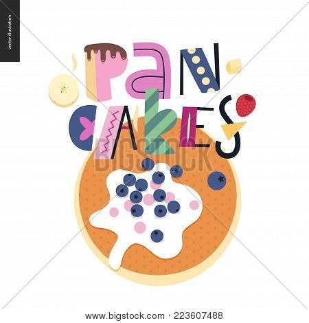 Lettering composition Love Spring Pancakes and a panckae with sour cream and bilberries