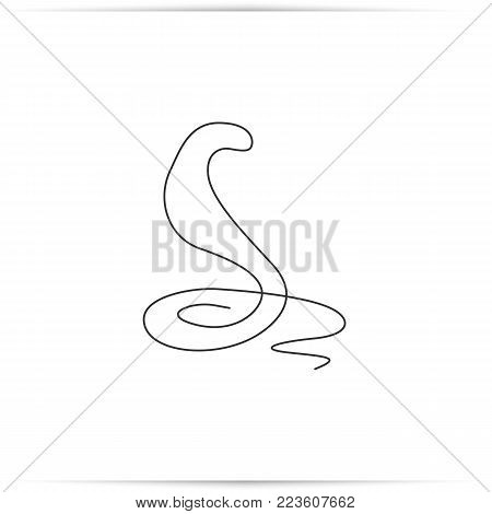 One line drawing of a snake. Snake icon outline. Singe animal icon from the big animals outline