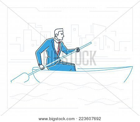 Businessman rowing a boat - line design style illustration on white background with silhouettes of clouds, city buildings. Metaphorical image of a young hard-working person, progressing a goal