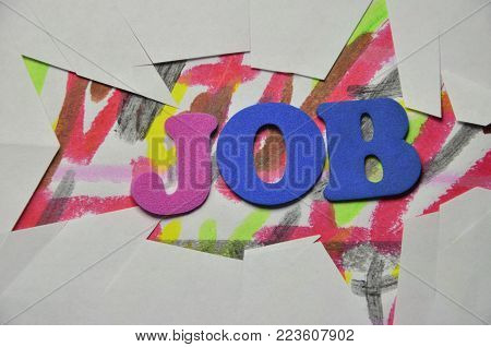 word job on an   abstract colored background