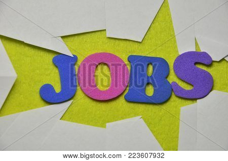 word jobs on an   abstract colored l background