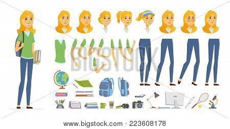 Student - vector cartoon people character constructor isolated on white background. Young pretty woman, tennis player. Set of different face expressions, poses, gestures for animation, objects