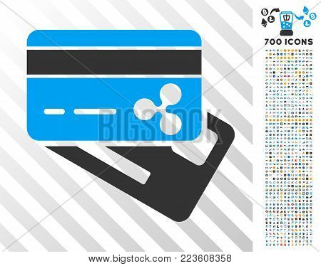 Ripple Banking Cards icon with 700 bonus bitcoin mining and blockchain symbols. Vector illustration style is flat iconic symbols designed for crypto currency apps.