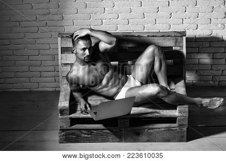 Handsome man or muscular macho, bodybuilder, with sexy, muscle torso, body, with six packs and abs in sexi underpants uses laptop, computer, lying on wooden pallet sofa on white brick wall