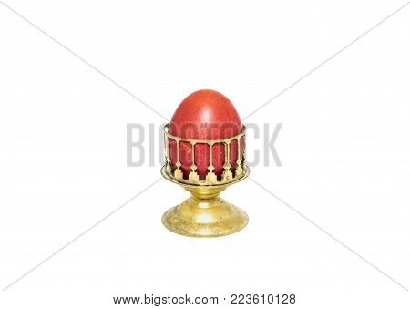 Red easter egg. Isolated on a white background.