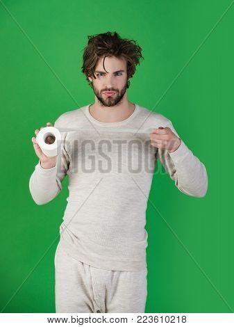 Man With Disheveled Hair Hold Big Lamp, Thumb Up