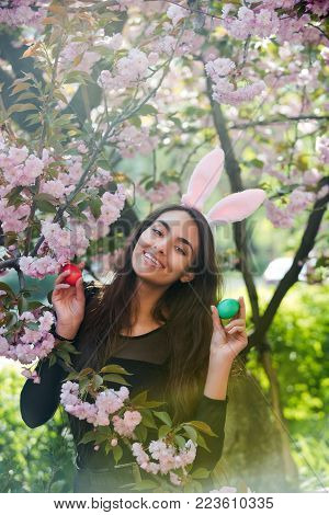 Happy girl or pretty woman with rosy bunny ears and long, brunette hair smiling with colored eggs, green and red, at tree with sakura flowers on sunny day on floral environment. Easter. Spring
