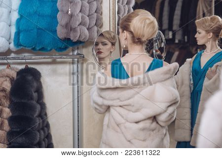Sexy Woman In Fur Coat, Shopaholic.