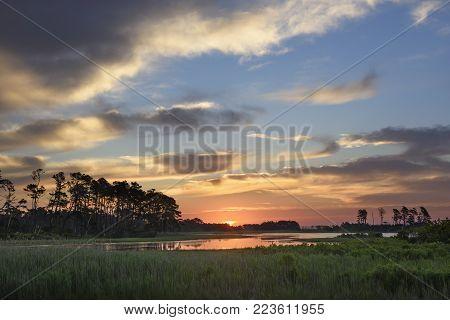 Colorful Sunrise Along Wetlands of Atlantic Coastline