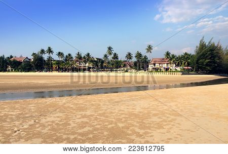 Thailand. The Sandy Beach During A Sea Outflow.